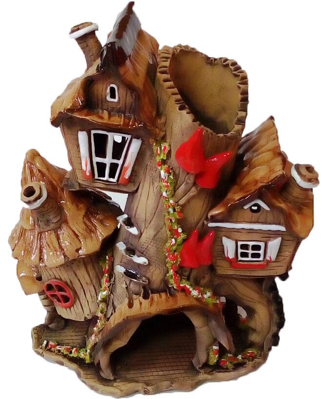 Фигурка Домик-коряга, цвет: коричневый, красный, высота 20 смF198Декоративная фигурка Домик-коряга изготовлена из полистоуна, безвредного для человека материала, устойчивого к воздействиям внешней среды, таким как влажность, солнце, перепады температуры. Такая фигурка отлично подойдет для декоративного оформления вашего дома и сада.Декоративные садовые фигурки представляют собой последний штрих при создании ландшафтного дизайна дачного или приусадебного участка. Декоративные фигурки для украшения сада из полистоуна позволяют создать правдоподобную декорацию и почувствовать себя среди живой природы. Кроме этого, веселые и незатейливые фигурки поднимут настроение вам, вашим друзьям и родным. Высота: 20 см.