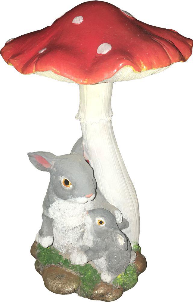 Фигурка Зайцы под грибом, цвет: серый, красный, белый, высота 29 см