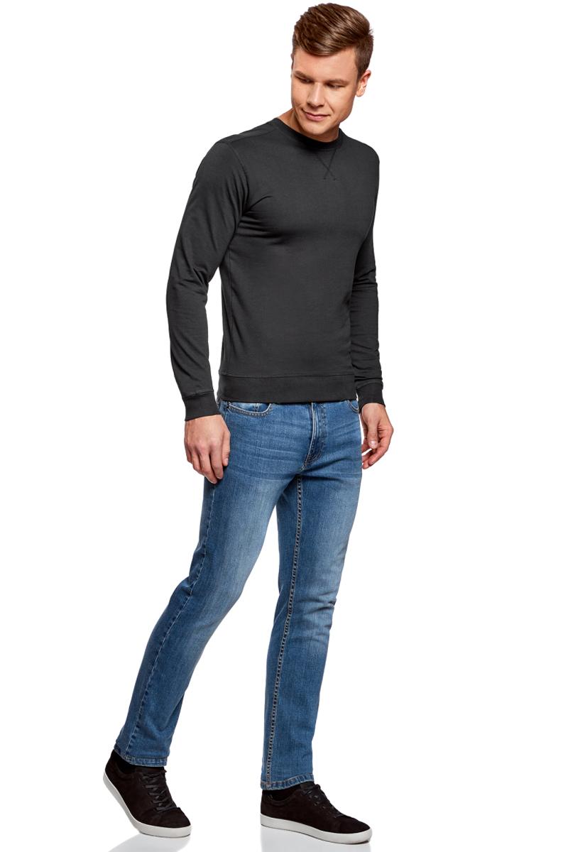 Джемпер мужской oodji Basic, цвет: черный. 5B113002M/46928N/2900N. Размер L (52/54)5B113002M/46928N/2900NМужской джемпер от oodji выполнен из натурального хлопкового трикотажа. Модель с длинными рукавами и круглым вырезом горловины.