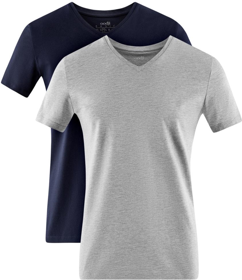 Футболка мужская oodji Basic, цвет: темно-синий, серый, 2 шт. 5B612002T2/46737N/1902N. Размер L (52/54)5B612002T2/46737N/1902NМужская базовая футболка от oodji выполнена из эластичного хлопкового трикотажа. Модель с короткими рукавами и V-образным вырезом горловины. В комплект входит две футболки.