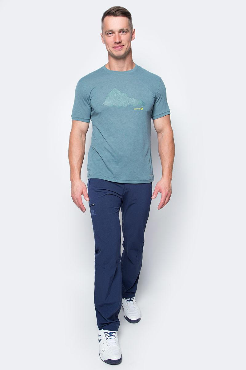 Футболка мужская Salomon Explore Graphic Ss Tee, цвет: серо-зеленый. L39307900. Размер L (52/54) футболка salomon футболка ski graphic ss tee m black