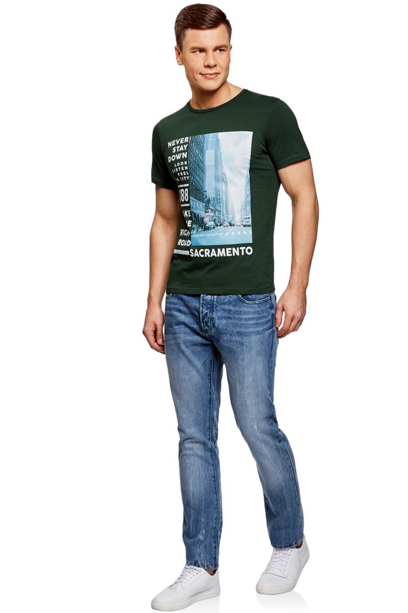 Футболка мужская oodji Lab, цвет: темно-зеленый. 5L611388M/44135N/6910P. Размер L (52/54)5L611388M/44135N/6910PМужская футболка от oodji выполнена из натурального хлопкового трикотажа. Модель с короткими рукавами и круглым вырезом горловины спереди оформлена стильным принтом.