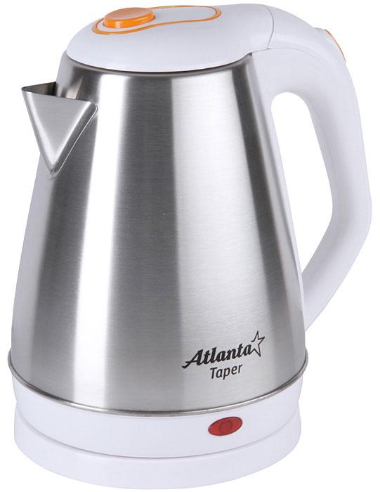 Atlanta ATH-2433, White чайник электрическийATH-2433Электрический чайник Atlanta ATH-2433 прост в управлении и долговечен в использовании. Изготовлен из высококачественных материалов. Мощность 1500 Вт быстро вскипятит 1,8 литра воды. Беспроводное соединение позволяет вращать чайник на подставке на 360°. Для обеспечения безопасности при повседневном использовании предусмотрены функция автовыключения, а также защита от включения при отсутствии воды.