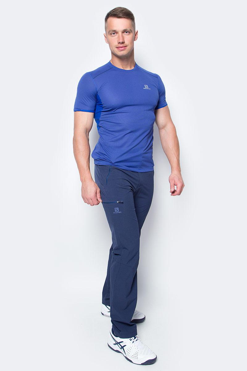 Футболка для бега мужская Salomon Trail Runner Ss Tee M, цвет: синий. L39385600. Размер XL (56/58) square neck crop tee
