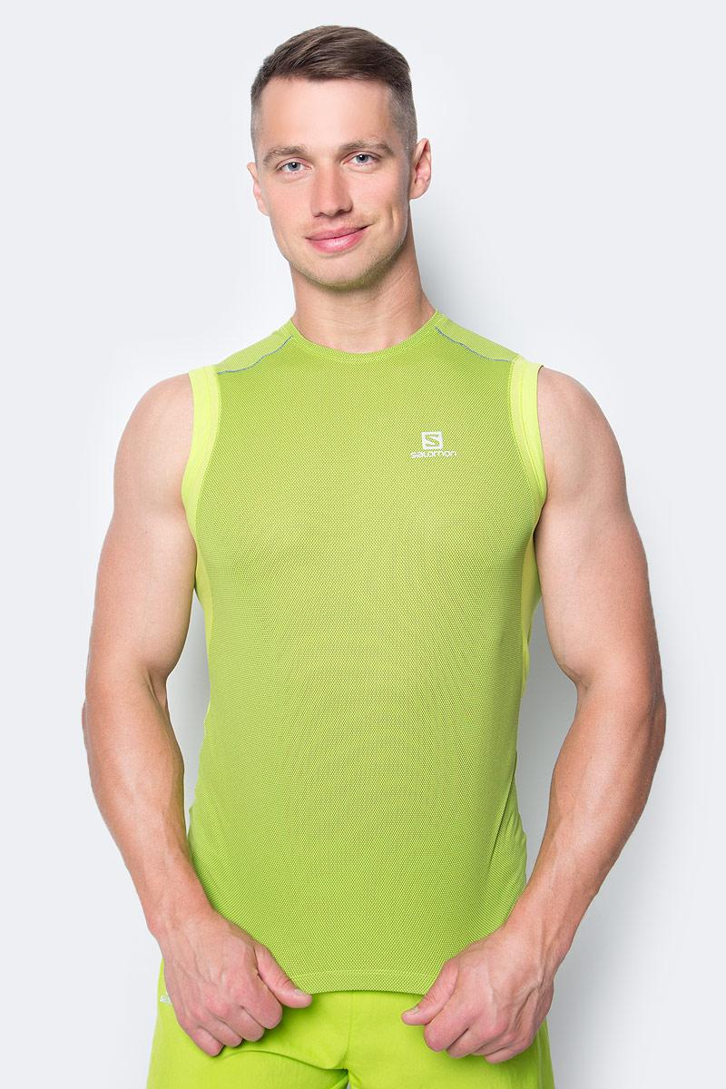 Майка для бега мужская Salomon Trail Runner Sleev Tee M, цвет: зеленый. L39259700. Размер M (48/50)