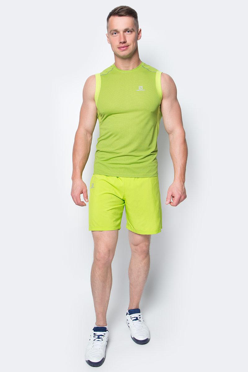 Майка для бега мужская Salomon Trail Runner Sleev Tee M, цвет: зеленый. L39259700. Размер M (48/50)L39259700Майка Salomon идеально подходит для занятий бегом или хайкинга в жаркую погоду. Мужская футболка обеспечивает полную свободу движений и вентиляцию, прекрасно сидит при надетом рюкзаке.