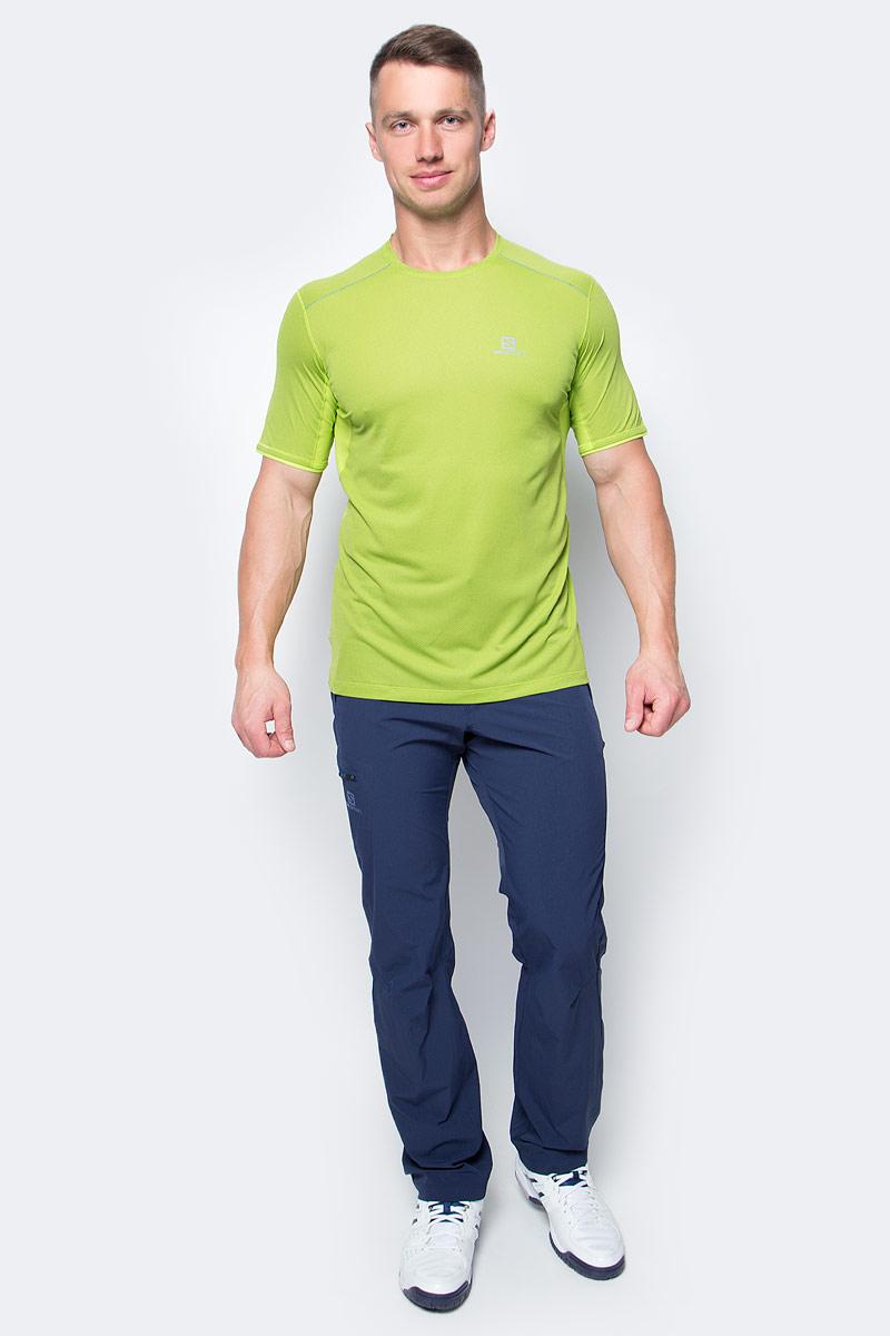 Футболка для бега мужская Salomon Trail Runner Ss Tee M, цвет: салатовый. L39259500. Размер XL (56/58) футболка salomon футболка ski graphic ss tee m black