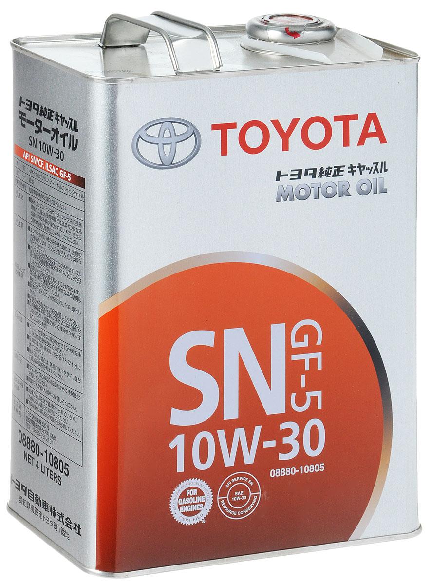 Моторное масло Toyota, 10W-30, 4 л08880-10805Моторное масло Toyota - это синтетическое всесезонное моторное масло, разработанное для бензиновых двигателей автомобилей линейки Toyota. Моторное масло обеспечивает отличную защиту двигателя от износа, благоприятно взаимодействует со всеми видами сальников, сохраняет узлы и агрегаты двигателя в чистоте. Обеспечивает превосходную работу двигателя даже в самых жестких условиях эксплуатации и увеличенных интервалах замены. В состав моторного масла входит высококачественный пакет присадок, которые обеспечивают отличные эксплуатационные характеристики и экономию топлива. Кроме этого, моторное масло обладает превосходными моющими свойствами, а также содержит противопенные присадки и обладает повышенной термостойкостью. Гарантирует легкий запуск и смазывание двигателя в холодную погоду. Допуски: API SN/CFILSAC GF-5