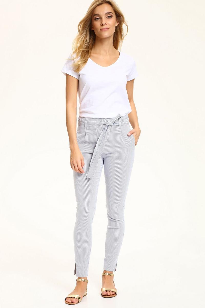 Брюки женские Top Secret, цвет: белый, синий. SSP2604BI. Размер 42 (50) шорты женские top secret цвет синий ssz0815ni размер 42 50