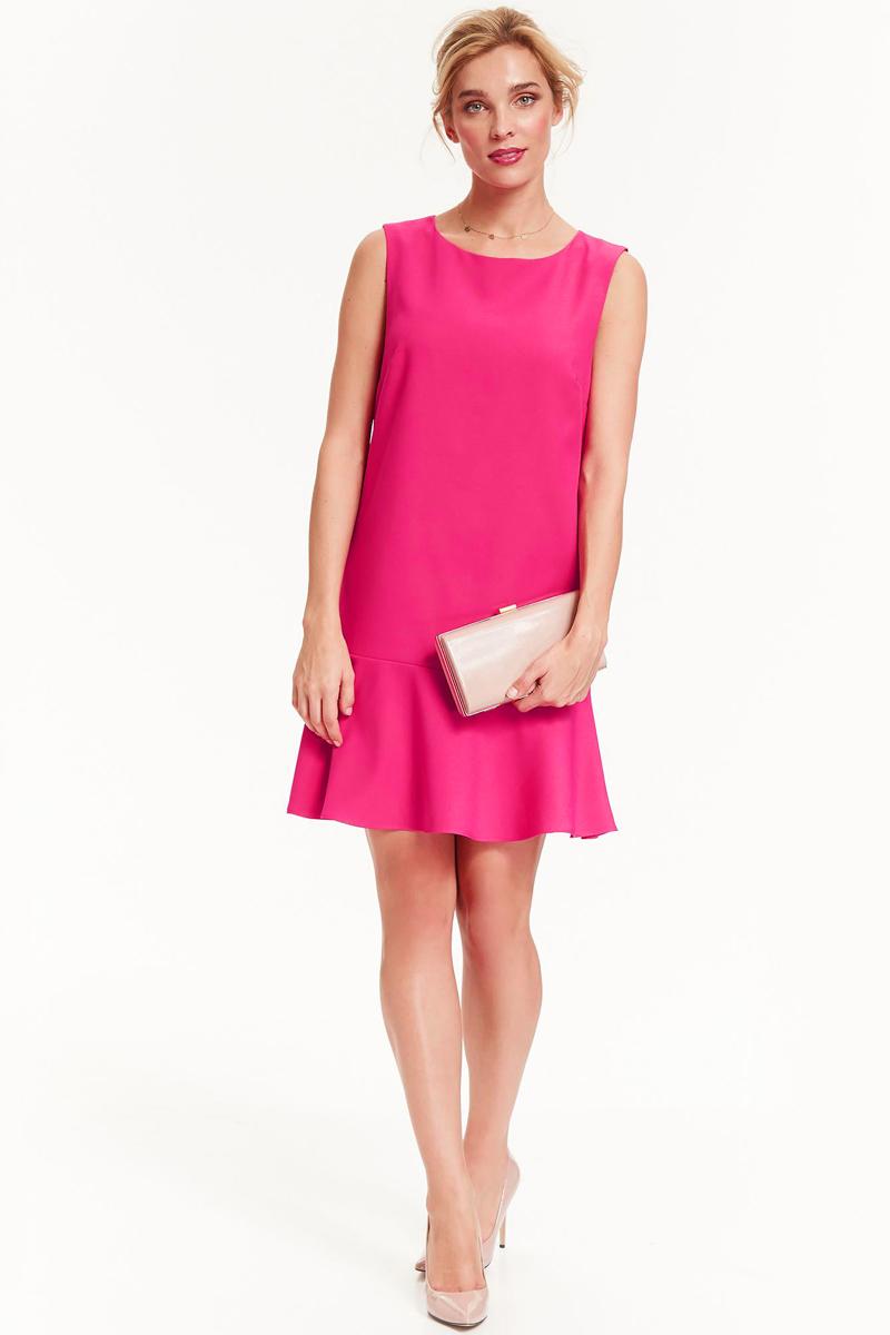 Платье Top Secret, цвет: фуксия. SSU1899CR. Размер 36 (44)SSU1899CRПлатье Top Secret изготовлено из полиэстера с добавлением вискозы и эластана. Модель с круглым вырезом горловины застегивается по спинке на молнию. Низ платья дополнен оборкой.