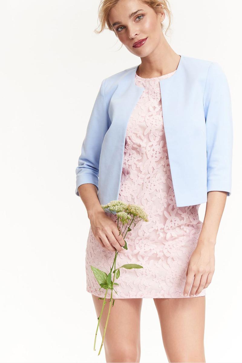 Платье Top Secret, цвет: светло-розовый. SSU1900JR. Размер 38 (46)SSU1900JRПлатье Top Secret изготовлено из полиэстера. Модель с круглым вырезом горловины застегивается по спинке на молнию. Верх платья декорирован кружевом.