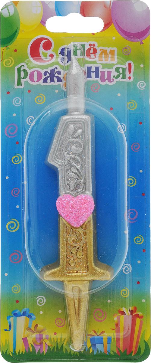 Свеча для торта Омский cвечной завод  Цифра 1 с сердечками , высота 12,5 см -  Свечи для торта