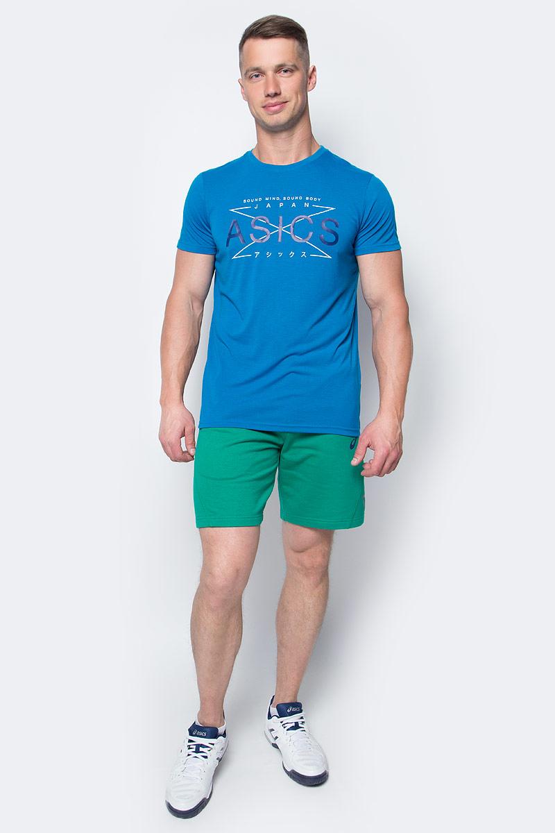 Футболка мужская Asics GPX Top, цвет: синий. 141816-8154. Размер XL (52/54)141816-8154Мужская футболка Asics выполнена из полиэстера с добавлением вискозы и эластана.У модели классический круглый ворот и короткие стандартные рукава. Спереди изделие оформлено принтом с надписями, на спинке - логотипом бренда. Технология Motion Dry позволяет выводить влагу, оставляя тело сухим и сохраняя его оптимальный температурный режим.