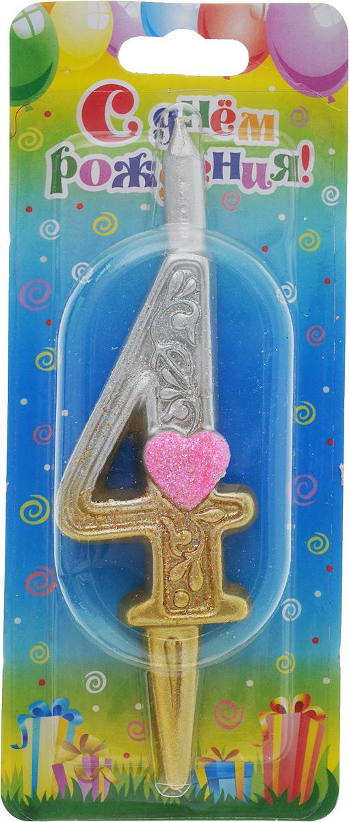 Свеча для торта Омский cвечной завод  Цифра 4 с сердечками , высота 12,5 см -  Свечи для торта