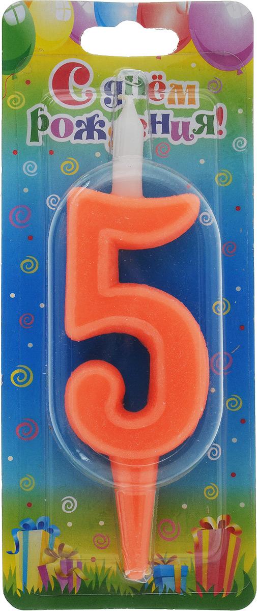 Свеча для торта Омский cвечной завод Цифра 5, цвет: красный, высота 12,5 см свеча для торта омский cвечной завод цифра 9 со зверушками высота 12 5 см