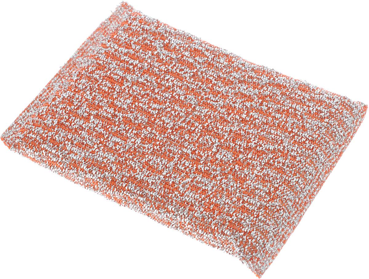 Губка для мытья посуды Home Queen, с металлизированной нитью, цвет: оранжевый, 120 х 80 х 25 мм467374Губка Home Queen изготовлена из поролона в чехле из полипропиленовой металлизированной нити. Предназначена для мытья посуды и очистки сильно загрязненных кухонных поверхностей. Позволяет экономить моющее средство, благодаря структуре поролона, который дает много пены при использовании.