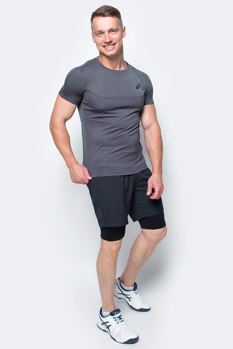 Футболка для фитнеса мужская Asics Ventilation Top, цвет: темно-серый. 141623-0779. Размер S (46/48)141623-0779Мужская футболка Asics выполнена из полиэстера. У модели классический круглый ворот и короткие стандартные рукава. Изделие оформлено дышащими вставками. Технология Motion Dry позволяет выводить влагу, оставляя тело сухим и сохраняя его оптимальный температурный режим.