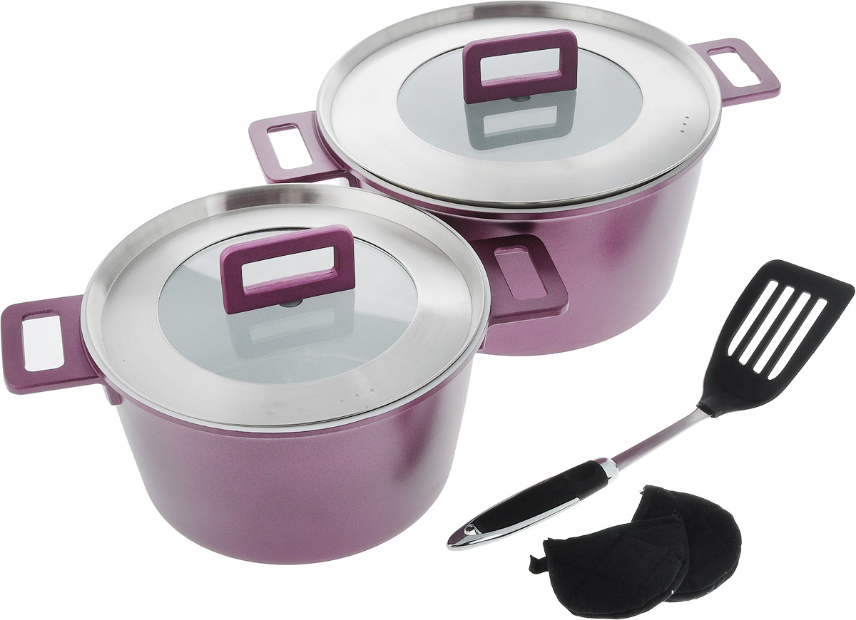Набор посуды Barton Steel, цвет: сливовый, 7 предметов6807BS_сливовыйНабор посуды состоит из двух кастрюль, лопатки и двух прихваток. Кастрюли изготовлены из литого алюминия с антипригарным покрытием, благодаря которому пища не пригорает и не прилипает к поверхности. Покрытие позволяет готовить без добавления масла, что обеспечивает приготовление здоровой пищи. Оно отличается долговечностью, абсолютно безвредно для здоровья человека и окружающей среды, обладает антибактериальными свойствами и легко моется, не впитывает запахи и не окрашивается соками различных продуктов. Усиленное индукционное дно быстро и равномерно прогревает всю рабочую поверхность кастрюль, благодаря чему приготовление занимает меньше времени и сокращает энергозатраты. Кастрюли дополнены удобными ручками и крышками из жаропрочного стекла. В комплекте идет специальная лопатка, которая не портит поверхность, а также 2 прихватки. Подходят для всех типов плит, включая индукционные. Объем кастрюль: 4,5 л; 7 л. Диаметр кастрюль (по верхнему краю): 24 см; 28 см. Высота стенок кастрюль: 12 см; 14 см. Длина лопатки: 34 см. Размер прихватки: 9 х 7 см.