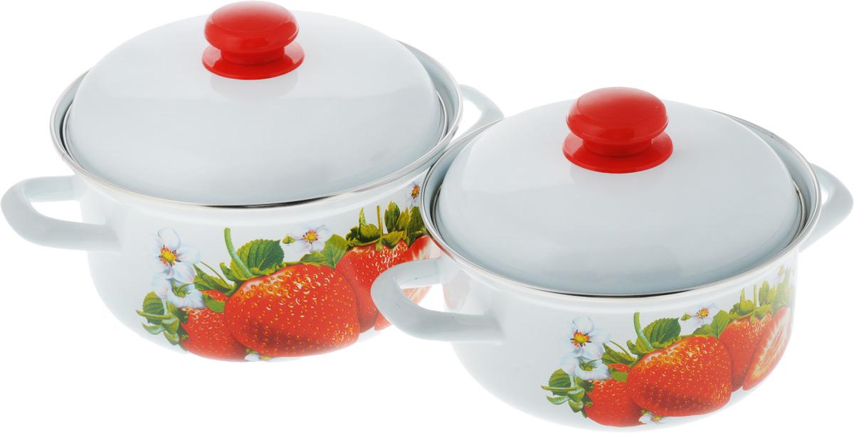 Набор кастрюль Лысьвенские эмали Сочная клубника, с крышками, 4 предмета набор кастрюль лысьвенские эмали итальянская кухня с напылением