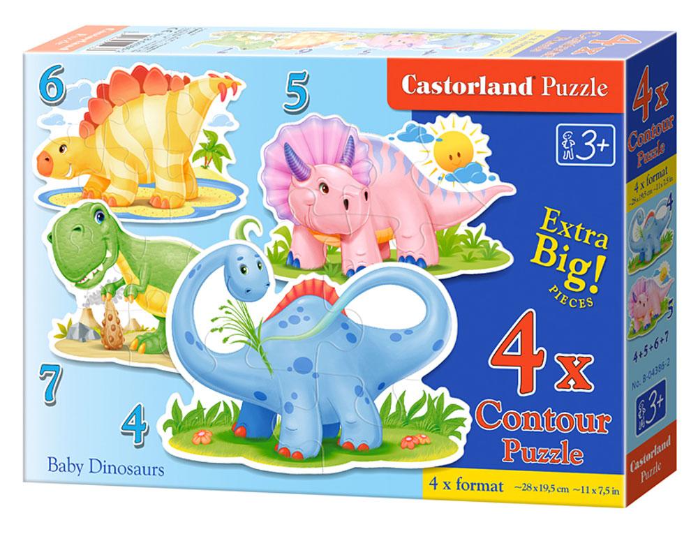 Castorland Пазл для малышей Динозаврики 4 в 1 learning journey пазл для малышей озорные фигуры 4 в 1