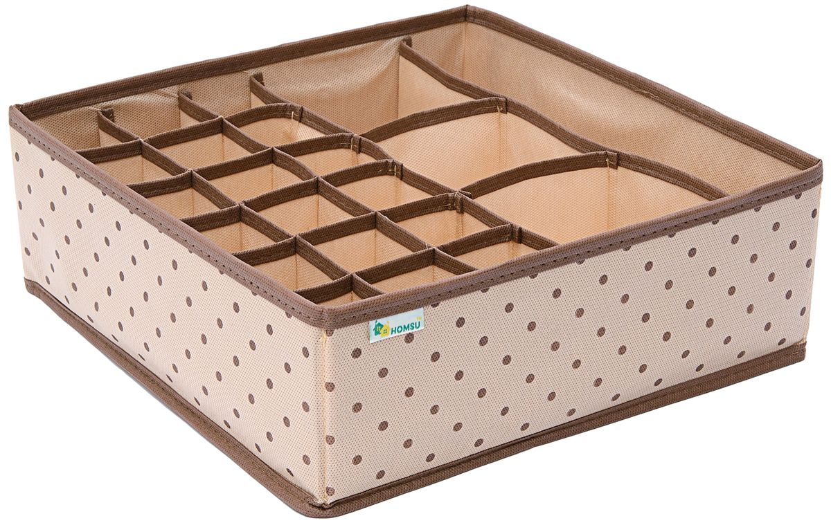 Органайзер для нижнего белья и аксессуаров Homsu, 22 секции, цвет: бежевый, 30 x 30 x 11 смHOM-799Органайзер для нижнего белья Homsu Comfort выполнен из спанбонда и поливинилхлорида. Прямоугольный и плоский органайзер имеет 18 ячеек, 3 квадратных секции и одну продольную секцию, он очень удобен для хранения нижнего белья и аксессуаров в вашем ящике или на полке. Имеет жесткие борта, что является гарантией сохранности вещей.Выполнен в универсальном дизайне, благодаря чему гармонично впишется в любой интерьер.Размер: 30 x 30 x 11 см