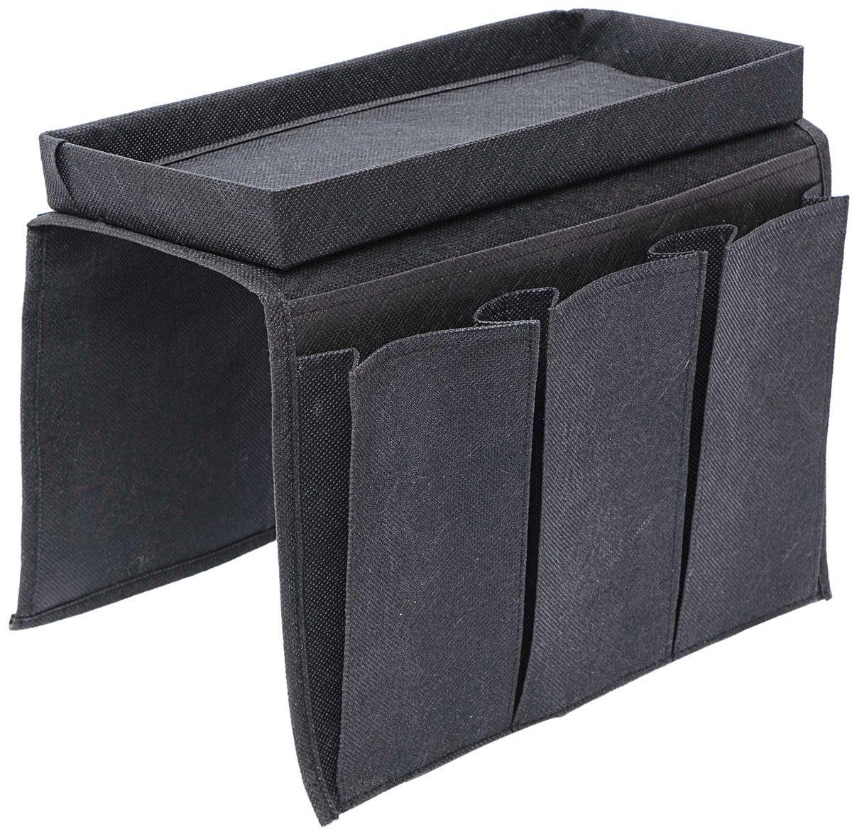 Органайзер на подлокотник дивана Homsu, цвет: черный, 32 x 57 смHOM-838Органайзер на подлокотник дивана Homsu может использоваться не только как столик, но и как удобное решение для хранения пультов, очков, газет и других предметов благодаря пяти карманам, размещенным по бокам изделия.Размер: 32 x 57 см.