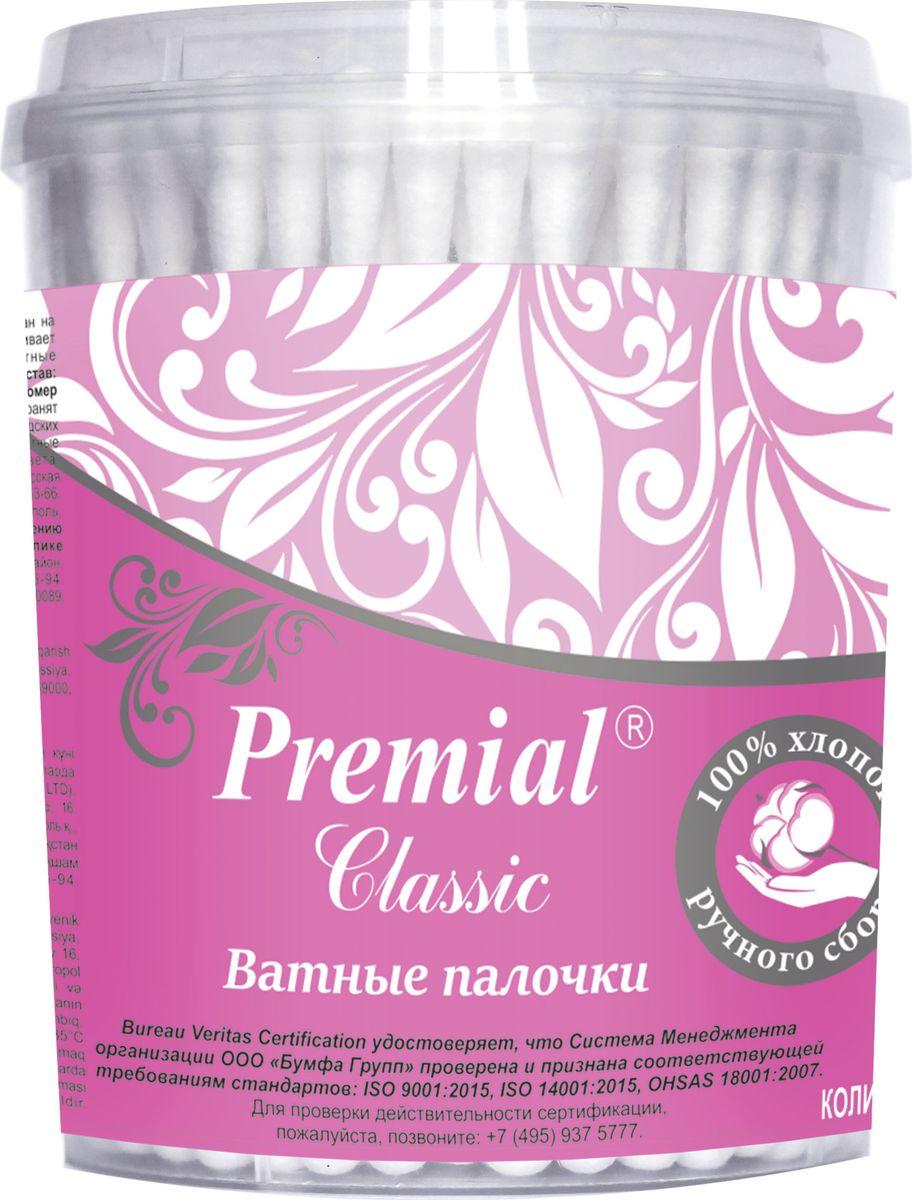 Premial Classik Ватные палочки (цилиндр), 100 шт0910-2374Эластичный пластиковый аппликатор обеспечивает максимальное удобство использования. Ватный тампон надежно зафиксирован на пластиковом аппликаторе.