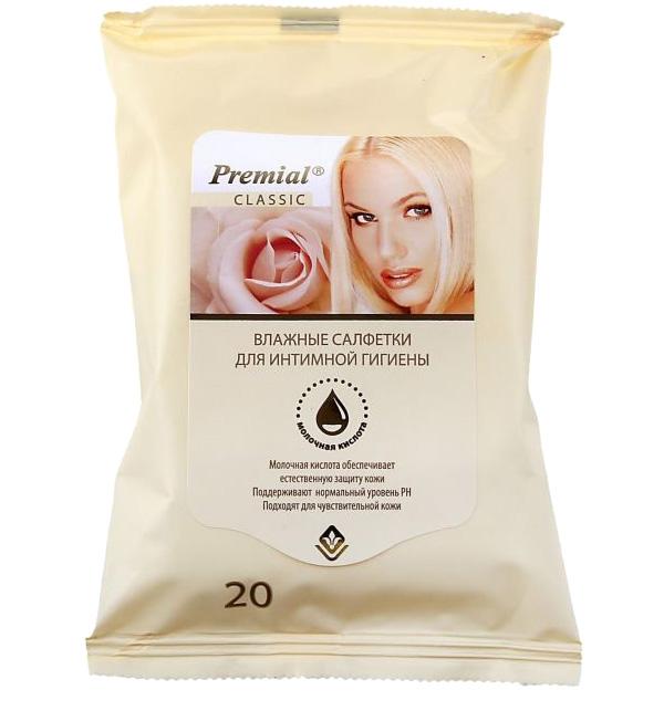 Premial Салфетки для интимной гигиены с молочной кислотой, 20 штMU475/SВ состав лосьона влажных салфеток входит молочная кислота, которая обеспечивает естественную защиту нежной кожи интимных мест и поддерживает нормальный уровень PH. Салфетки подходят для чувствительной кожи и могут использоваться в любой день месяца.