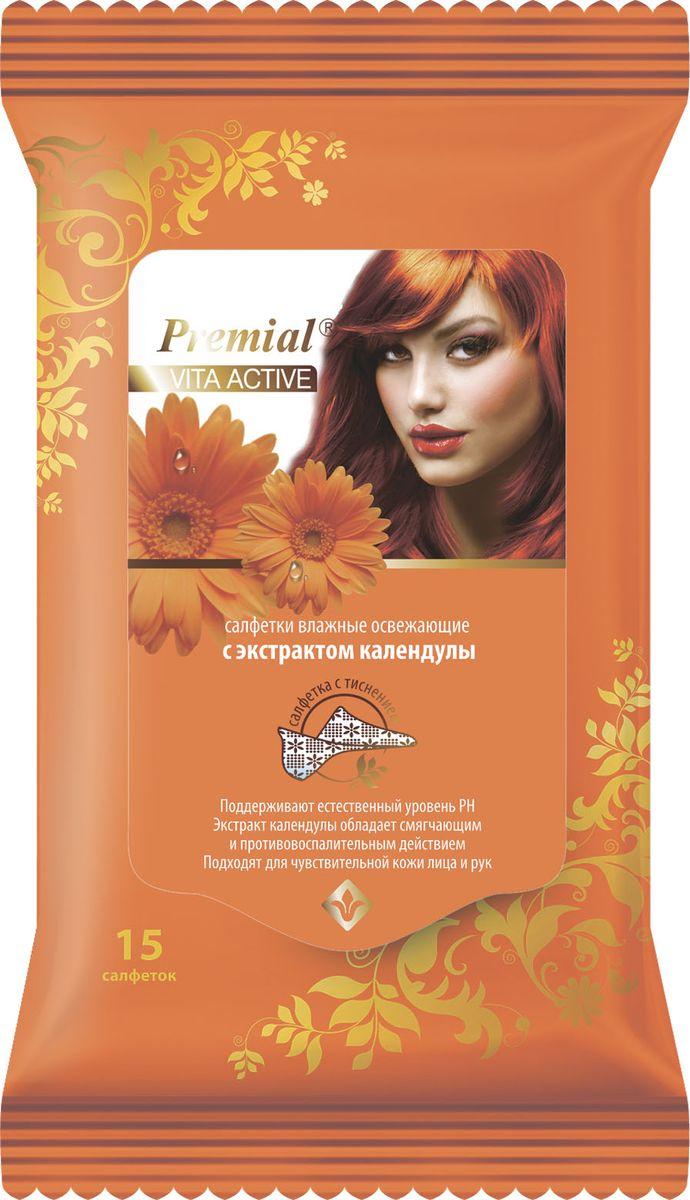 Premial Салфетки Vita Active влажные освежающие календула, 15 шт