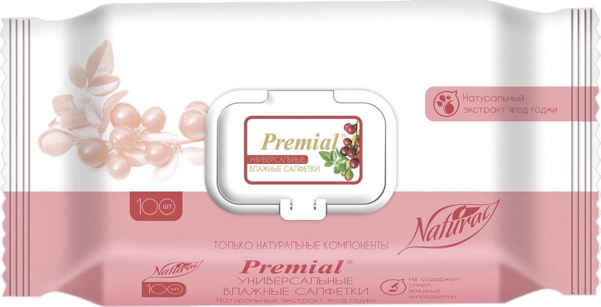 Premial Натур Салфетки влажные универсальные с экстрактом ягод годжи, 100 шт0910-7348Салфетки универсальные Premial natural. Мягкие и прочные, деликатно очищают и одновременно ухаживают за нежной кожей. Экстракт ягод годжи тонизирует и увлажняет кожу, обладает антиоксидантными свойствами.