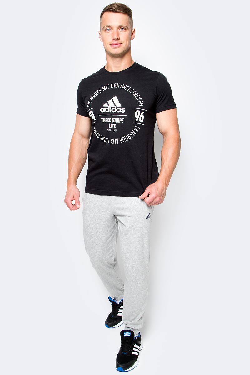 Футболка мужская adidas Logo Tee, цвет: черный. BK2801. Размер L (52/54)BK2801Футболка мужская adidas Logo Tee выполнена из натурального хлопка. Модель с круглым вырезом горловины и короткими рукавами оформлена оригинальным принтом.