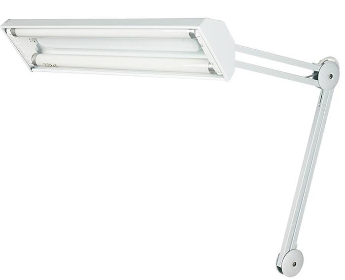 Настольная люминесцентная лампа на струбцине 2х15W, с электронным стабилизатором, белая Rexant31-0402Настольная металлическая люминесцентная лампа на струбцине Rexant 2х15W, белого цвета. Лампа имеет множество рычагов и механизмов для точной фиксации в любом положении. Лампа повышенной яркости подойдет для использования в слабоосвещенных помещениях, а так же для работы в темное время суток. Подходит для использования, как взрослыми так маленькими детьми, в офисе, рабочем помещении или дома. Лампа Rexant оборудована электронным стабилизатором, что обеспечивает мгновенное включение лампы и отсутствие мерцания. Крепится на любую плоскую поверхность с помощью струбцины.Характеристики:• Источник света: 2 люминесцентные лампы;• Тип лампы: T8 15Вт; • Напряжение питания: 220В-240В;• Электронный стабилизатор: да;• Цвет: белый.
