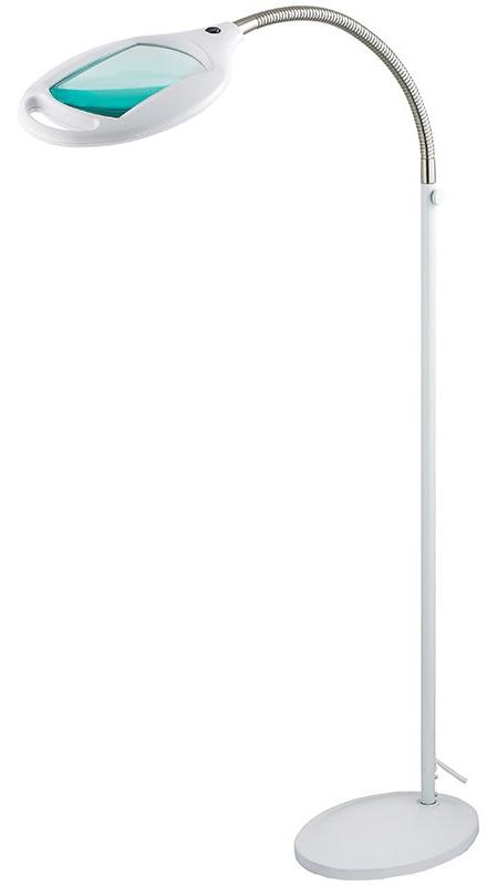 Лупа напольная 3Х с подсветкой 42 LED 7W, белая Rexant31-0512Лупа напольная 3Х с подсветкой 42 LED, белая REXANT предназначена для визуального увеличения различных мелких предметов или их фрагментов. Она используется в косметологии, в тату салонах, при выполнении ювелирных и радиомонтажных работ, при ремонте часов, в биологии и медицине, в швейном и вышивальном деле, для организации труда людей со слабым зрением, а также для других работ, где требуется дополнительное увеличение и подсветка рабочего поля. Такая оптическая система состоит из линзы, напольной подставки и бестеневой подсветки.ОСНОВНЫЕ ПРЕИМУЩЕСТВА:1. Линза изготовлена из стекла. Обеспечит наиболее четкое изображение с минимальным уровнем искажения;2. Бестеневая подсветка предмета. Возможна работа в условиях отсутствия внешнего освещения;3. Увеличенный срок службы. Достигается за счет использования светодиодной (LED) подсветки;4. Устойчивая напольная конструкция с возможностью регулировки угла наклона и высоты линзы;5. Держатель линзы оснащен рукояткой, позволяющей настраивать положение линзы не дотрагиваясь до самой линзы;6. Экономия электроэнергии. Потребляет в рабочем состоянии 5Вт;7. Встроенный электронный блок управления, благодаря которому, лампа излучает ровный свет без мерцания.ТЕХНИЧЕСКИЕ ХАРАКТЕРИСТИКИ:- размер линзы: 174х108мм;- оптическая сила линзы: 3 диоптрии - 3D (увеличение 1.75 раза);- источник света: 42 ярких светодиода (LED);- потребляемая мощность подсветки: 7Вт;- цвет корпуса: белый;- напряжение питания: АС 220-240В, 50Гц;- размер коробки: 91x28x23см.Лупа с подсветкой REXANT необходима не только любому специалисту для выполнения работ с высокой точностью и безопасностью для клиента, но также она будет незаменимым прибором в быту.