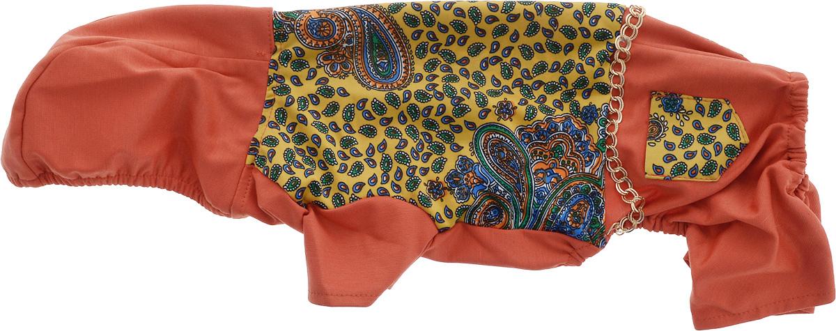 Комбинезон для собак GLG Цепочки, цвет: темно-оранжевый. Размер MMOS-013-colors-M_темно-оранжевыйКомбинезон для собак GLG Цепочки выполнен из высококачественного текстиля, комфортного при движении. Короткие рукава не ограничивают свободу движений, и собачка будет чувствовать себя в нем комфортно. Комбинезон дополнен капюшоном с эластичной резинкой по краю. Изделие застегивается с помощью кнопок. Изделие оформлено оригинальным принтом и цепочкой.Модный и невероятно удобный комбинезон защитит вашего питомца от насекомых на улице, согреет дома или на даче.Одежда для собак: нужна ли она и как её выбрать. Статья OZON Гид