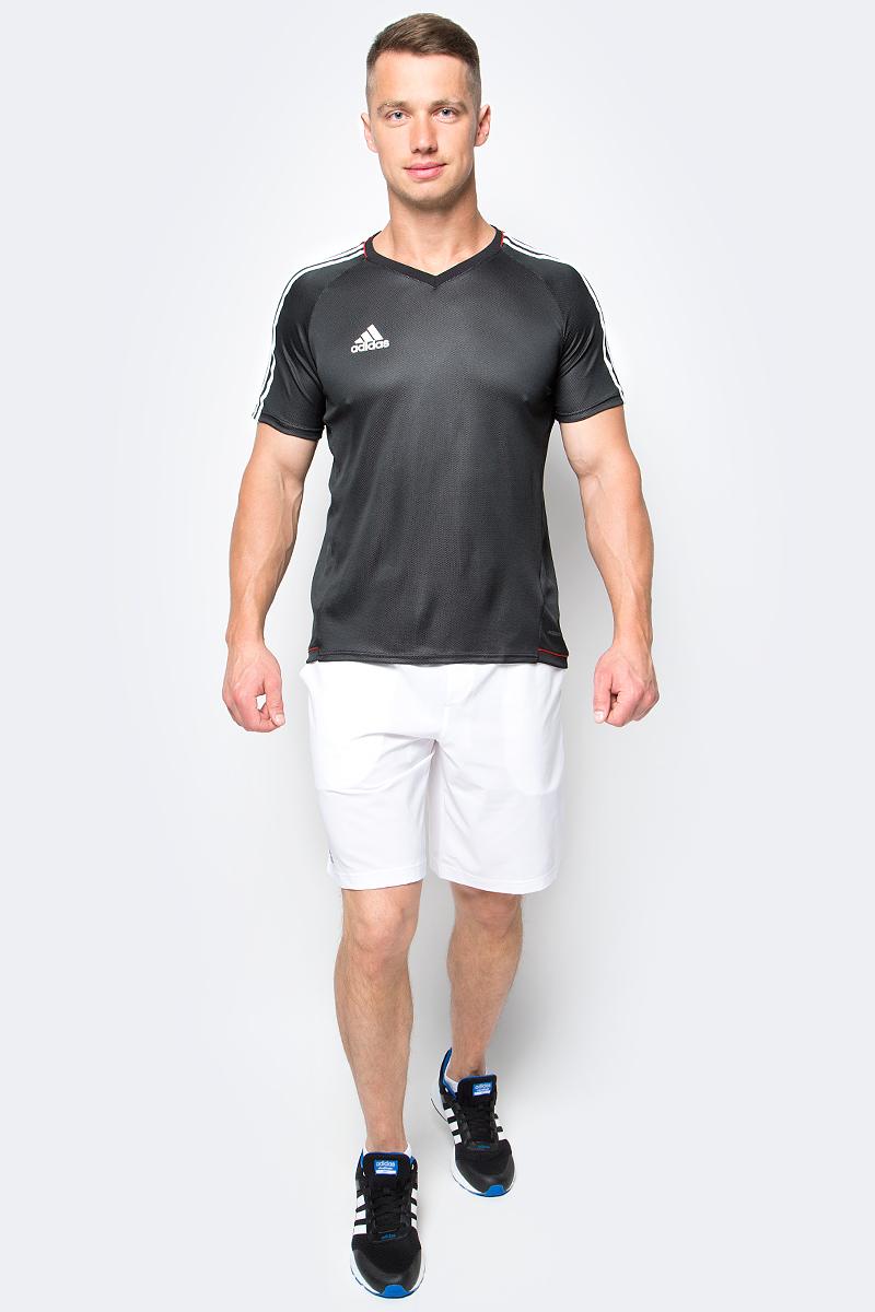 Футболка мужская Adidas Tir Jsy, цвет: черный. AZ9765. Размер M (48/50)AZ9765Принимай и веди. Мастерство требует упорства. Оттачивай навыки маневрирования в этой мужской футболке. Легкая ткань с технологией climalite отводит излишки влаги, сохраняя ощущение комфорта. Три полоски на рукавах в классическом футбольном стиле.Ткань с технологией climalite быстро и эффективно отводит влагу с поверхности кожи, поддерживая комфортный микроклимат.Легкая функциональная ткань.Рифленый V-образный ворот, внутренний шов ворота обработан тесьмой.Рукава реглан; три полоски на рукавах.Эта модель — часть экологической программы adidas: использованы технологии, сберегающие природные ресурсы; каждая нить имеет значение: переработанный полиэстер сохраняет природные ресурсы и уменьшает отходы производства
