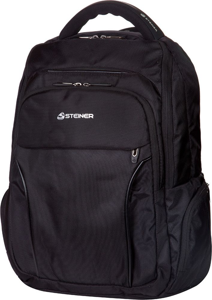 Steiner Рюкзак цвет черный 1-ST51-ST5Стильный и строгий рюкзак Steiner для мужчин и подростков - многофункциональный, вместительный. Благодаря средним размерам, наличию множества карманов, универсальной расцветке рюкзак подойдет, как для школьников и студентов, так и мужчинам для городских передвижений.Рюкзак имеет современный дизайн; ортопедическую, дышащую спинку; плотные, широкие, легко регулируемые лямки, которые позволяют равномерно распределять нагрузку на спину; нагрудный ремень для распределения нагрузки на спину. Изделие выполнено из влагоизоляционного материала, который не даст ему промокнуть. На рюкзаке находится уплотненная ручка для переноски в руках и дополнительная ручка-петля для подвешивания рюкзака на крючок.Рюкзак имеет два больших отделения на молниях, два передних кармана на молниях и боковые карманы для мелочей.