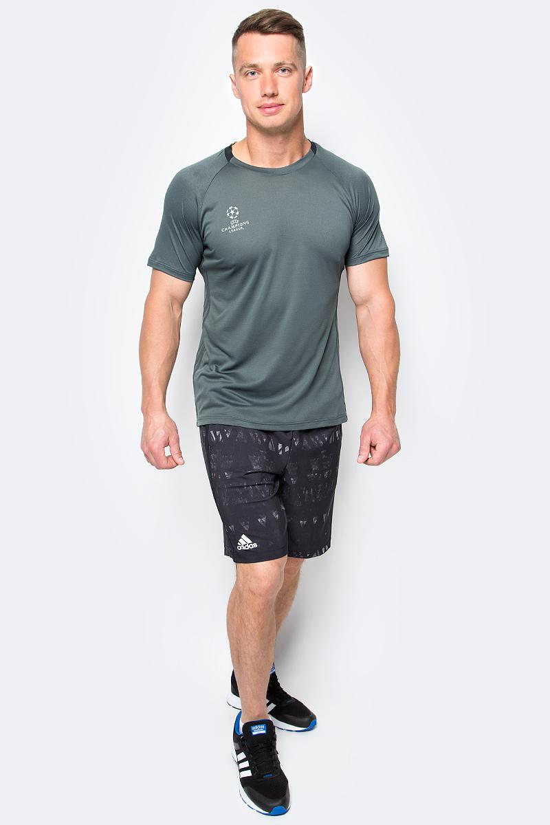 Шорты для тенниса мужские adidas Essex Tr Ber, цвет: черный. B45797. Размер S (44/46)B45797Мужские шорты для тенниса Adidas Essex Tr Ber изготовлены из полиэстера с добавлением эластана. Модель дополнена широкой эластичной резинкой на поясе. Объем талии регулируется при помощи шнурка-кулиски в поясе. Шорты дополнены двумя втачными карманами спереди. Изделие оформлено оригинальным принтом.