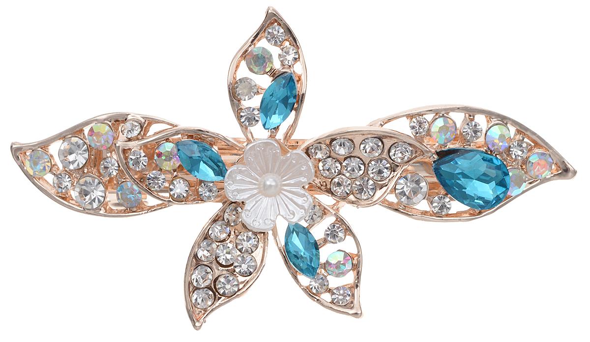 Заколка для волос Драгоценное лето от D.Mari. Кристаллы Aurora Borealis, кристаллы голубого цвета, бижутерный сплав золотого тона. Гонконгpokka-4095-4-2Заколка для волос Драгоценное лето. Гонконг.D.Mari.Кристаллы Aurora Borealis, кристаллы нежно-розового и голубого цвета, бижутерный сплав золотого тона.Размер - 7 х 4 см.Сохранность хорошая.