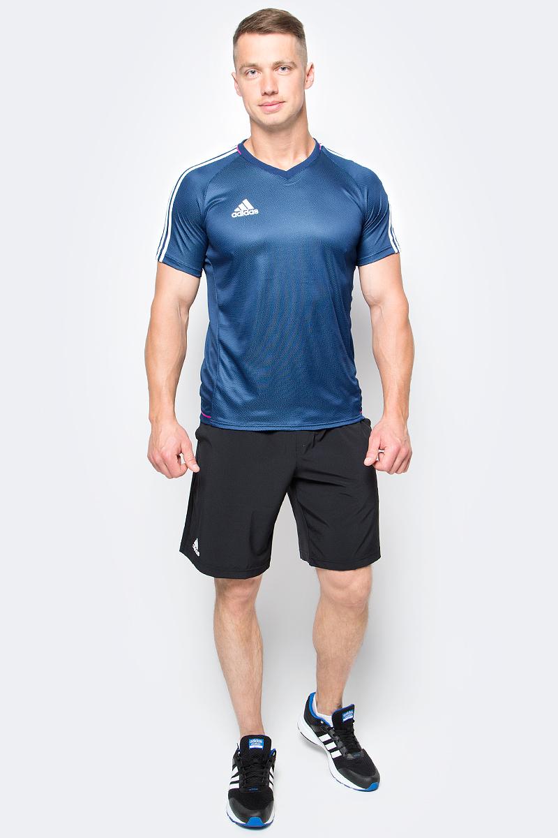 Футболка мужская Adidas Tir Jsy, цвет: темно-синий. AZ9764. Размер S (44/46)AZ9764Принимай и веди. Мастерство требует упорства. Оттачивай навыки маневрирования в этой мужской футболке. Легкая ткань с технологией climalite отводит излишки влаги, сохраняя ощущение комфорта. Три полоски на рукавах в классическом футбольном стиле.Ткань с технологией climalite быстро и эффективно отводит влагу с поверхности кожи, поддерживая комфортный микроклимат.Легкая функциональная ткань.Рифленый V-образный ворот, внутренний шов ворота обработан тесьмой.Рукава реглан, три полоски на рукавах.Эта модель — часть экологической программы Adidas: использованы технологии, сберегающие природные ресурсы; каждая нить имеет значение: переработанный полиэстер сохраняет природные ресурсы и уменьшает отходы производства.