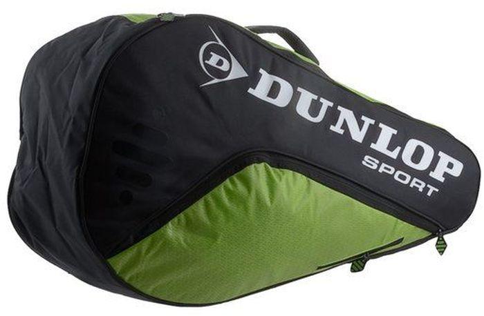Сумка Dunlop D Tac Bio Tour 3r Therm, на 3 ракетки для тенниса, цвет: зеленый, черный817162Сумка Dunlop D Tac Bio Tour 3r Therm предназначена для переноски и хранения 3 ракеток для тенниса. Конструкция выполнена из прочного 1680 и 420D полиэстера. Сумка имеет 1 отделение, вмещающее до 3 ракеток, а также изолированное термо отделение, боковой карман с внутренними отделениями для телефона/плеера, клипсой для ключей и карманом для ценных вещей. Рюкзачные лямки предусмотрены для удобной переноски.