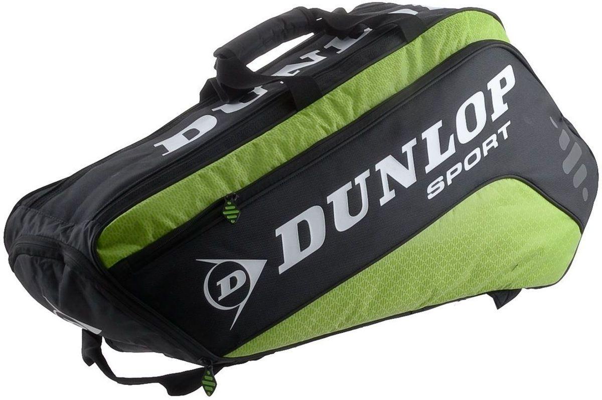 Сумка Dunlop D Tac Pro 6r Therm, на 6 ракеток для тенниса, цвет: зеленый, черный817163Сумка Dunlop D Tac Pro 6r Therm предназначена для переноски и хранения 6 ракеток для тенниса. Конструкция выполнена из прочного 1680 и 420D полиэстера. Сумка имеет 2 отделения, вмещающие до 6 ракеток, а также изолированное термо отделение и встроенный карман для обуви или мокрых вещей, боковой карман с внутренними отделениями для телефона/плеера, клипсой для ключей и кармашек для ценных вещей. Сумка имеет эргономичные плечевые лямки для удобства переноски.