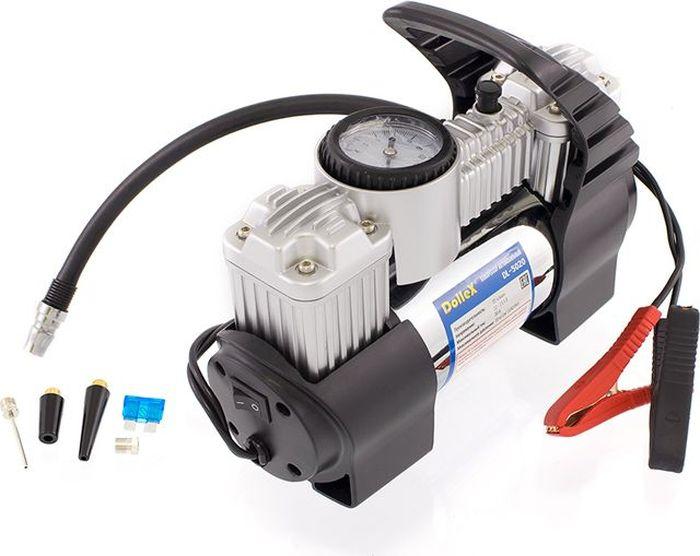 Компрессор автомобильный DolleX, 2-х поршневой, предохранитель, шланг, на клеммы, сумка, 12V, 30 A, 150PSI, 72 л/минDL-5020Производительность: 72 л/мин Напряжение: 12-13,5 В Максимальный ток: 30А Максимальное давление: 10 кг/см3 (150 PSI) Алюминиевый корпус, мотор с прямым приводом, в конструкции отсутствуют шестерни, два цилиндра, металлические поршни и клапаны, клапан сброса давления на корпусе, гибкий съёмный шланг 2,5 м, надёжные зажимы на клеммы АКБ, брезентовая сумка в комплекте.