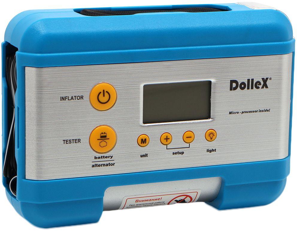 Компрессор автомобильный DolleX, предохранитель, фонарь, цифровой манометр, тестер, сумка, 12V, 15 A, 7 Атм, 30 л/минDL-8101Производительность: 30 л/мин.Проверяет зарядку аккумулятора.Диагностирует генератор.Светодиодный фонарь.Электронное управление и память.Низкий уровень шума 71 Дб.Мощный и надежный мотор.Большой цифровой дисплей.4 адаптера в комплекте.
