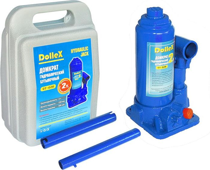 Домкрат гидравлический бутылочный DolleX, 2,0 т, 158-308 мм, в кейсеDT-02BОтличительные особенности домкрата:- Предохранительный клапан - Удобная упаковкаТехнические характеристики: Грузоподъемность 2,0 тВысота подхвата 158 мм Высота подъема 308 мм Ход штока 90 мм Ход удлинительного винта 60 ммВес домкрата 2,40 кгКомплектация:1. Домкрат; 2. Рукоятка; 3. Кейс для хранения; 4. Паспорт изделия. Гарантия 2 года.
