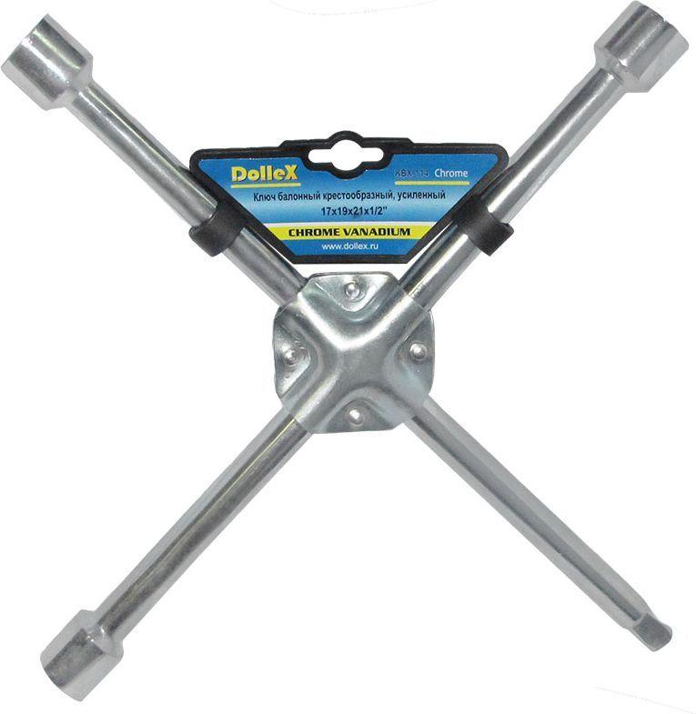 Ключ баллонный DolleX, крест, усиленный,цвет: хром, 17 x 19 x 21 х 1/2KBX-114Ключ баллонный DolleX изготовлен из высококачественной углеродистой стали.Предназначен для монтажа и демонтажа резьбовых соединений при замене автомобильных колес. Инструментом можно работать с четырьмя размерами болтов и гаек 17-19-21 мм.Вес: 1,1 кг.Габариты: 36 x 36 x 3 см.