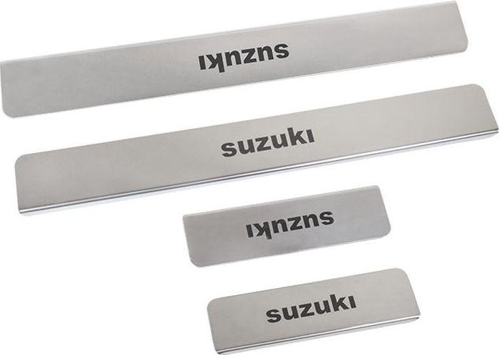 Накладки внутренних порогов DolleX, для SUZUKI Swift, Kizashi, 4 штNPK-009Придают автомобилю стильный и неповторимый вид, эффективно защищают пороги от повреждения лакокрасочного покрытия.Отличительные особенности:- Полированная нержавеющая сталь- Толщина стали 0,5 мм.- Стильный внешний вид- Легкая и быстрая установка- Крепление лента липкая двухсторонняяКомплект:размер 450х61мм - 2штразмер 200х61мм - 2шт