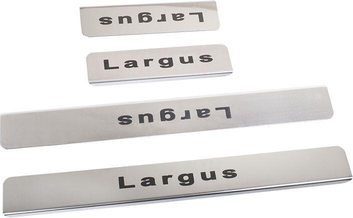 Накладки внутренних порогов DolleX, для LADA Largus, 4 штNPK-101Придают автомобилю стильный и неповторимый вид, эффективно защищают пороги от повреждения лакокрасочного покрытия.Отличительные особенности:- Полированная нержавеющая сталь- Толщина стали 0,5 мм.- Стильный внешний вид- Легкая и быстрая установка- Крепление лента липкая двухсторонняяКомплект:размер 450х55мм - 2штразмер 300х55мм - 2шт