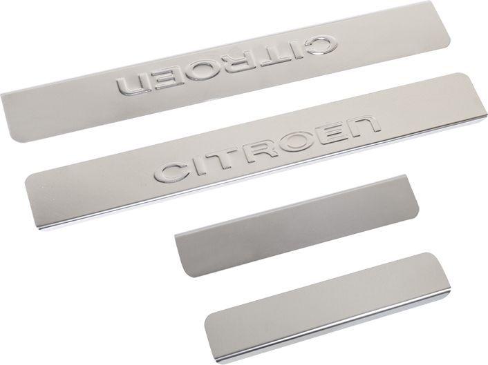 Накладки внутренних порогов DolleX, для CITROEN C4 (<-2013), C5 (<-2013), Berlingo, 4 штNPS-005Придают автомобилю стильный и неповторимый вид, эффективно защищают пороги от повреждения лакокрасочного покрытия.Отличительные особенности:- Полированная нержавеющая сталь- Толщина стали 0,5 мм.- Стильный внешний вид- Легкая и быстрая установка- Крепление лента липкая двухсторонняяКомплект:размер 450х55мм - 2штразмер 200х55мм - 2шт