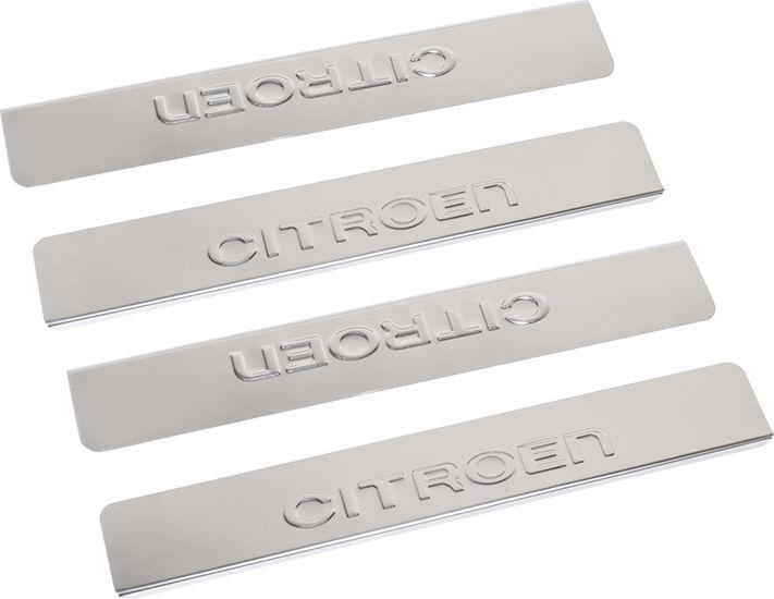 Накладки внутренних порогов DolleX, для CITROEN C4 (2013->), 4 штNPS-006Придают автомобилю стильный и неповторимый вид, эффективно защищают пороги от повреждения лакокрасочного покрытия.Отличительные особенности:- Полированная нержавеющая сталь- Толщина стали 0,5 мм.- Стильный внешний вид- Легкая и быстрая установка- Крепление лента липкая двухсторонняяКомплект:размер 400х61мм - 2штразмер 400х61мм - 2шт