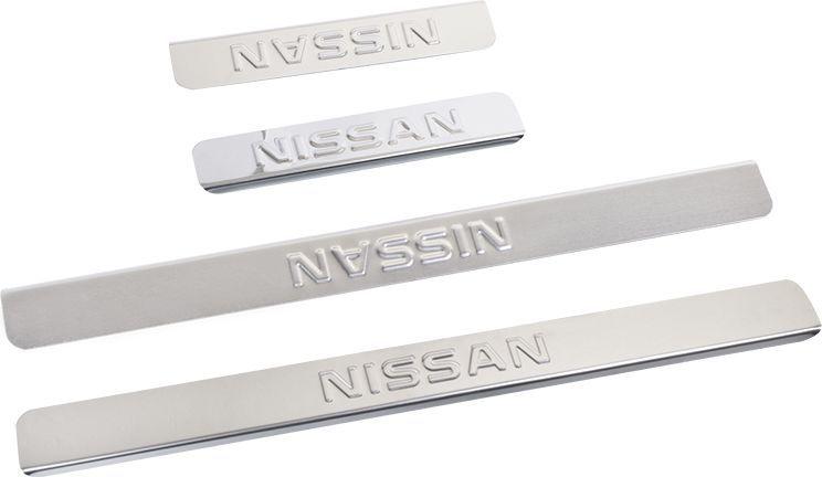 Накладки для порогов DolleX, для Nissan X-Trail, 4 штNPS-031Накладки для порогов DolleX для Nissan X-Trail придают автомобилю стильный и неповторимый вид, эффективно защищают пороги от повреждения лакокрасочного покрытия.Отличительные особенности:- Изготовлены из полированной нержавеющей стали,- Толщина стали 0,5 мм,- Стильный внешний вид,- Легкая и быстрая установка,- Крепление - лента липкая двухсторонняя.В комплекте 4 насадки (2 передние, 2 задние).Размеры: 45 х 4,2 см - 2 шт, 20 х 4,2 см - 2 шт.